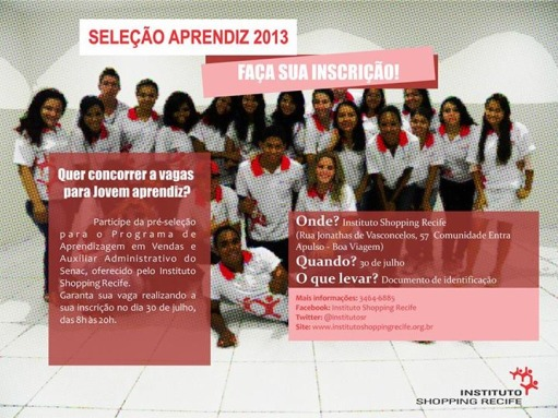 Cartaz Jovem Aprendiz Instituto Shopping Recife