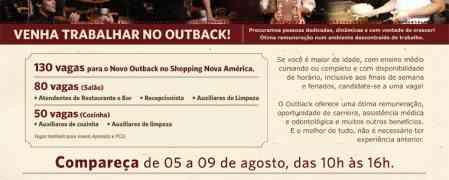 Jovem Aprendiz Outback Steakhouse Rio de Janeiro inscrições agosto